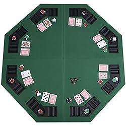 """Giantex 48"""" Folding Poker Table Top Green Octagon 8 Player Four Fold Folding Poker Table Top & Carrying Case (Dark Green)"""