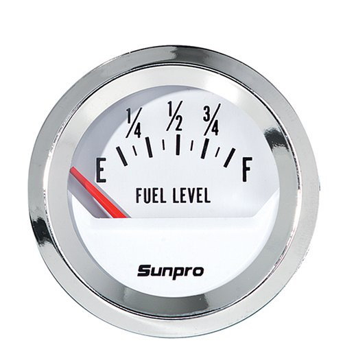 Sunpro CP8209 StyleLine Electrical Fuel Level Gauge - White - Sunpro Gauge Fuel