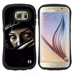 "Pulsar iFace Series Tpu silicona Carcasa Funda Case para Samsung Galaxy S6 , Casco del polluelo del motorista muchacha mujer Negro"""