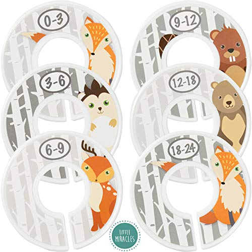 Baby Closet Size Dividers - Woodland Nursery Closet Dividers for Baby Clothes - Fox Deer Bear Hedgehog Beaver Nursery Decor - Baby Closet Dividers for Boy or Girl - [Woodland] [Grey/Gray] from Little Miracles