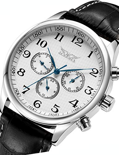 GuTe Old Fashion Mens Auto Mechanical Wristwatch White Dial Blue Hands Day Date 24hrs -
