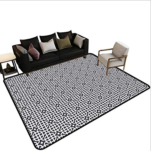 Geometric, Customize for Home Mat, Ornamental Motifs Vertical Horizontal Stripes Squares with Oval Corners, Area Rug Bedroom 6x8 Feet Charcoal Grey White ()