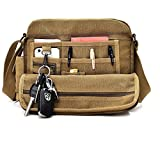 Aeoss High Quality Multifunction Men Canvas Bag Casual Travel Bolsa Masculina Men's Crossbody Bag Men Messenger Bags (BROWN)