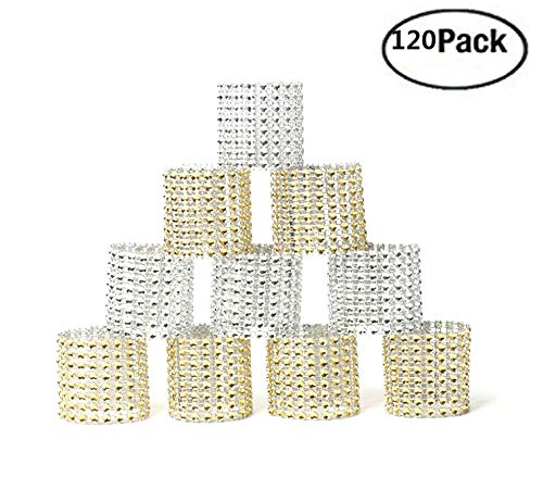 JM-capricorns 120 Pcs Napkin Rings Rhinestone Napkin Rings Adornment For Wedding Party (60Gold, 60Silver) by JM-capricorns