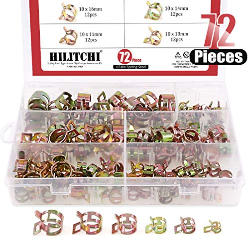 (Hilitchi 72 pcs Spring Band Type Action Fuel/Silicone Vacuum Hose Pipe Clamp Low Pressure Air Clip Clamp (10 x 7mm 10mm 11mm 14mm 16mm 17mm))