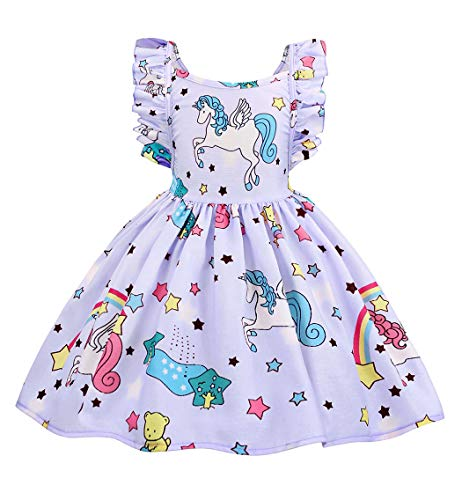 Cotrio Baby Girls Sundress Unicorn Strappy Backless Slip Dress Toddler Pageant Party Dresses Halloween Costume Outfits Size 10 (140, 9-10Years, Purple) for $<!--$16.99-->
