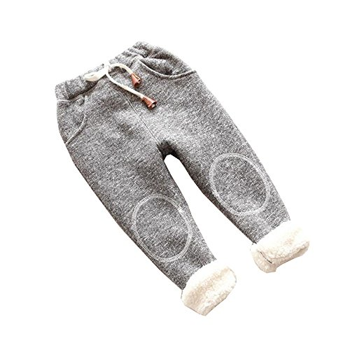 - BibiCola Autumn Baby Girls Winter Leggings Children Plus Thick Velvet Pants Casual Trousers Kids Warm Girl Christmas Pants (12M, Gray)