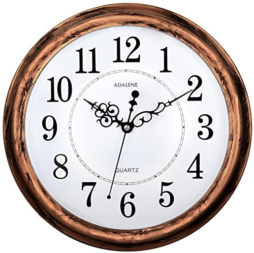 adalene 13 inch large nonticking silent wall clock decorative battery operated quartz analog quiet wall clock for living room kitchen bedroom