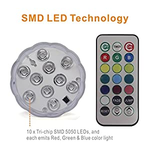 Tripop RGB Color Changing LED Light, 13 Colors 2 Modes Dimmable Submersible Lights with Remote and Timer (4 Pack)