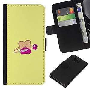 KLONGSHOP // Tirón de la caja Cartera de cuero con ranuras para tarjetas - Pan tostado amarillo de la historieta feliz - Samsung ALPHA G850 //