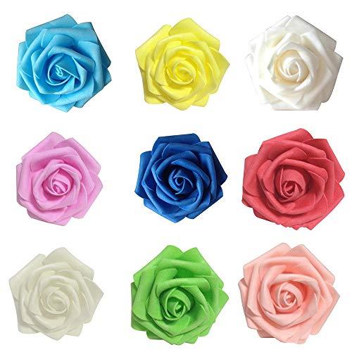 50Pcs Fake Foam Roses Artificial Flowers Wedding DIY Bridal Bouquet Party Decor - Assorted Colors 50pcs Ameesi