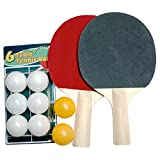 Ping Pong Table Tennis Paddles/Racket Set Two Padded Paddles and Two Plastic Balls in a Zippered Carrying Case + 6 Extra Balls. Perfect For One on One Sessions, Beginner Right through to Expert Set.