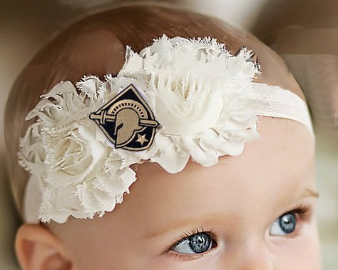 Future Tailgater Army Black Knights Baby/Toddler Shabby Flower Hair Bow Headband (6-12 Months/ 14