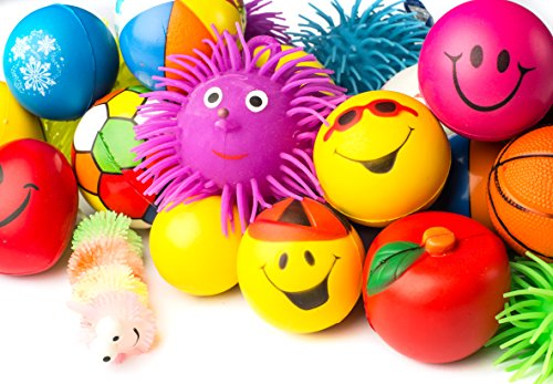 Squeeze Ball - Stress Balls Puffer Stress Relief Toys Value Assortment Bulk 1 Dozen Stress Relax Toy Balls, Squeeze Ball Puffer Ball Assortment Most Popular Selection of Hand Exercise Balls & Therapy Balls