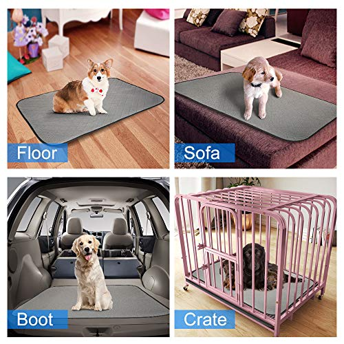 2 in 1 Reusable Pee Pad Dog Waterproof Crate Mat, 2PCS HomJoy Absorbent Pet Training Pads with Leakproof Waterproof Whelping Pad Non-Slip Bottom Puppy Wee Pads 67 x 50cm