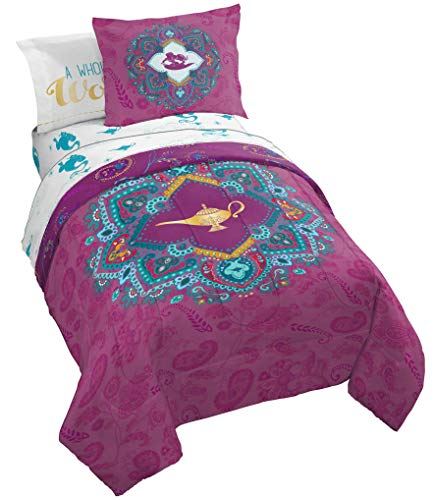 Jay Franco Disney Show You The World Twin Bed Set Featuring Aladdin's Magic Lamp, Purple