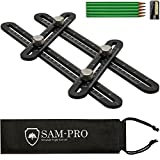 The SAM-PRO Template Angle Tool-set is made of premium aluminum alloy: The angle ruler is durable, lightweight, with high quality metal knobs. Precision measuring angle tool: SAM-PRO's aluminum passed 3-level quality control tests at our prod...