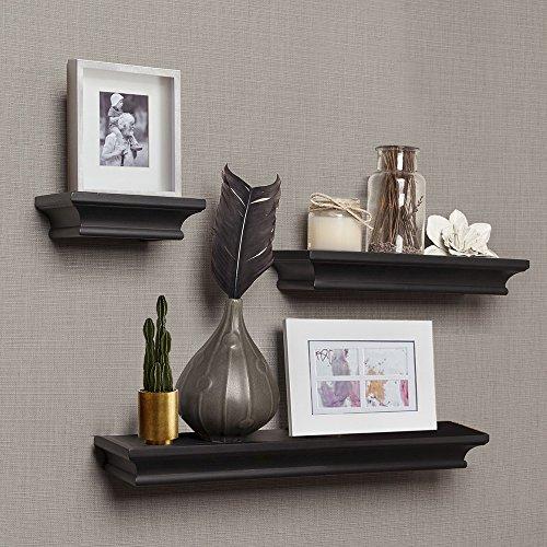 AHDECOR Floating Shelves Ledge Shelf Black (4 Inches Deep, Set of 3 pcs) by AHDECOR