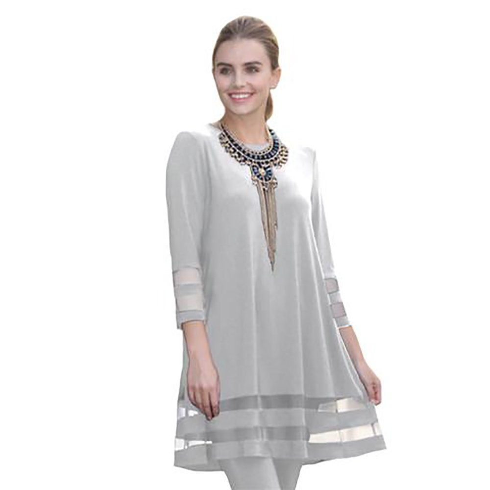 IC Collection Tunic In Silver - 2517T-SLV (Large) by IC Collection