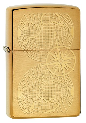 Zippo Lighter: Engraved World Map - Brushed Brass -