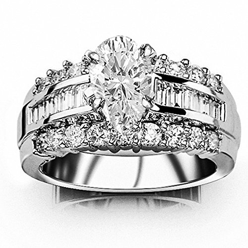 1.61 Ctw 14K White Gold Channel Set Baguette and Round Diamond Engagement Ring (0.51 Ct G Color SI1 Clarity Pear Cut Center) - Good Si1 Color Very Clarity