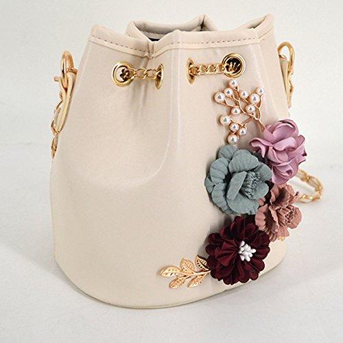 Bag Bag Women Bucket Cactus Boutique Beige Drawstring Bag Embroidery Chain Goodbag Floral Flower vwXxnT