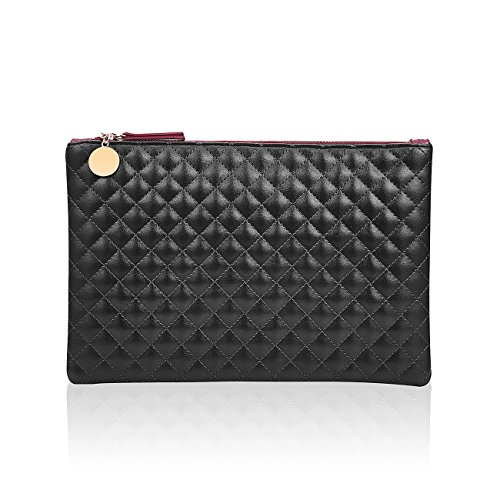 GGBAZZARA Quilted Diamond Pattern big clutch casual wristlet Handbag Purse Large Wristlet Phone Clutch (black)