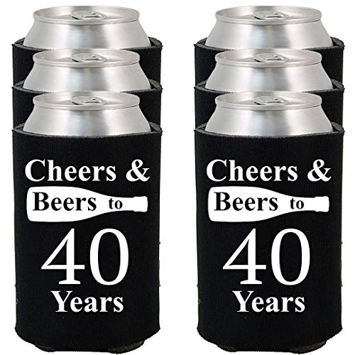 Shop4Ever Cheers & Beers to 40 Years Can Coolie Birthday Drink Coolers Coolies Black - 12 Pack -