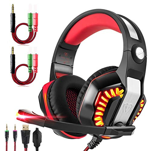 Gm Ipod Adapters - Gaming Headset for Xbox One,PS4,PC,Laptop,Tablet with Mic,Pro over Ear Headphones,Two Free 3.5mm Y Splitter,Noise Canceling,USB Led Light,Stereo Bass Surround for kids,Mac,Smartphones