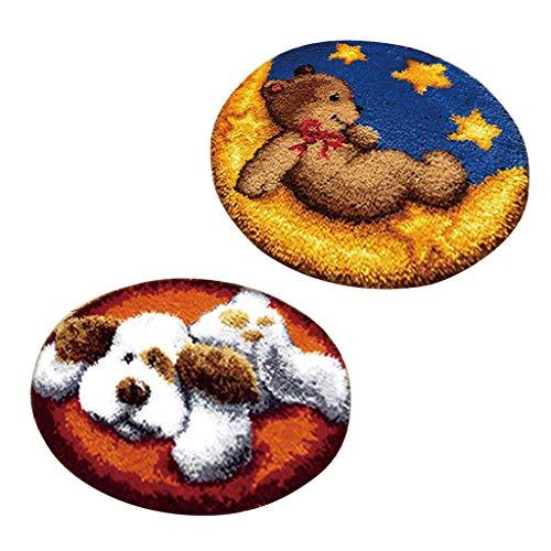 Prettyia 2 Set Dog Bear Latch Hook Rug Kits DIY Animals Patterns Needlework Cushion Home Decor 2 Latch Hook Pattern