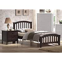 1PerfectChoice San Marino Twin Kids Youth Bed Matching Night Stand Drawers Dark Walnut