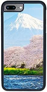 ديكالاك كفر حماية لهاتف ايفون 8 بلس، بتصميم إزهار الكرز وجبل فوجي في النهر في الصباح