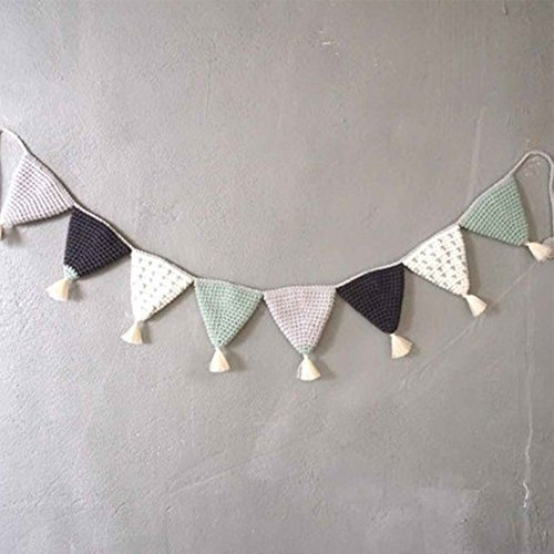 Handmade Cotton Wall Hanging Triangle Flag Children Bedroom Furniture Decorative Wall Art Baby Gift (Mixed color 1) (Wall Art Triangle)