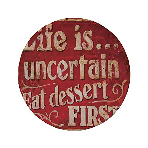 Potters Creme - Non-Slip Rubber Round Mouse Pad,Vintage,Retro Classic Decorative Design for Restaurant and Food Symbols Signs Funny Diner Supper Decorative,Red Creme,7.87