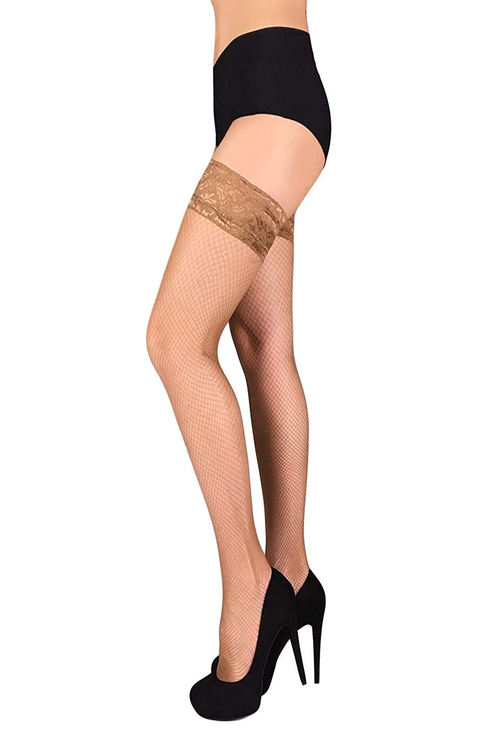 2ba316951fc Amazon.com  Fishnet Thigh High Stay up Stockings Lace Top Silicone Top  Nylon Hosiery  Clothing