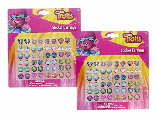 Dream Works Trolls 24 Pair Sticker Earrings (2 Pack)