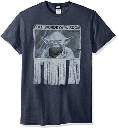 Star Wars Men's Words Of Wisdom T-Shirt, Navy Heather, Large
