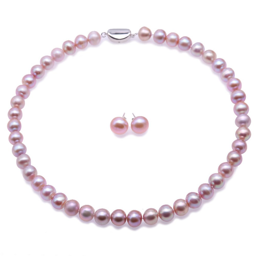 JYX Pearl Necklace Set 9-11mm Lavender Freshwater Pearl Necklace Bracelet and Earrings Jewelry Set