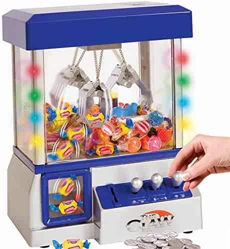 Home Claw Toy Grabber Machine with Bright LED Lights and Playing Music - Insert Coins for Real Arcade Play & Sounds