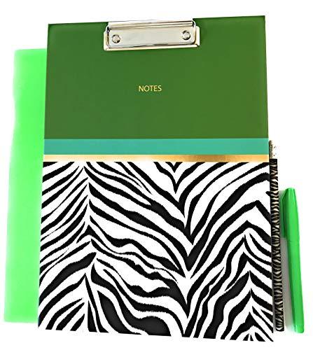 Animal Print Design Clipboard Padfolio Folder Pencil and Fluorescent Pen for Office College or High School Supplies (Zebra/Green)