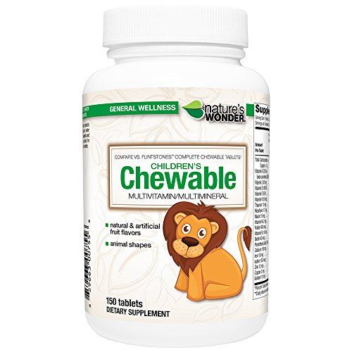 Nature's Wonder Child Chewable Complete Multivitamin, 150 Count, Compare vs. Flintstones® Complete Chewable Tablets