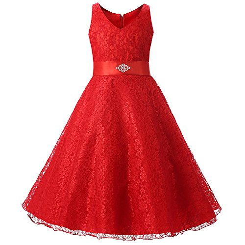 Kids Flower Girls Lace Dress for Wedding Party Red 150