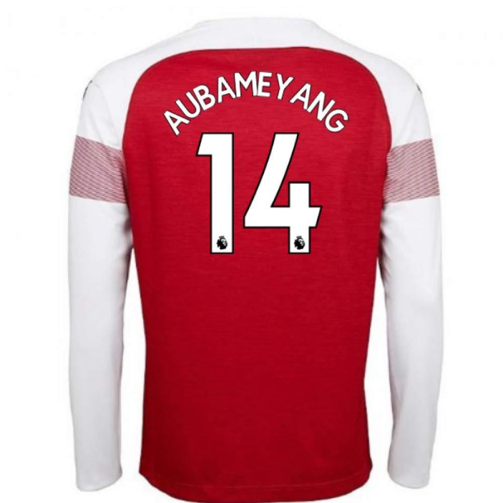 2018-2019 Arsenal Puma Home Long Sleeve Football Soccer T-Shirt Trikot (Pierre Emerick Aubameyang 14)
