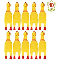 LEGEND SANDY 10 PCS Screaming Chicken, Rubber Chicken Noisemakers for Kids and Pets, Shrilling Shrieking Squawking…