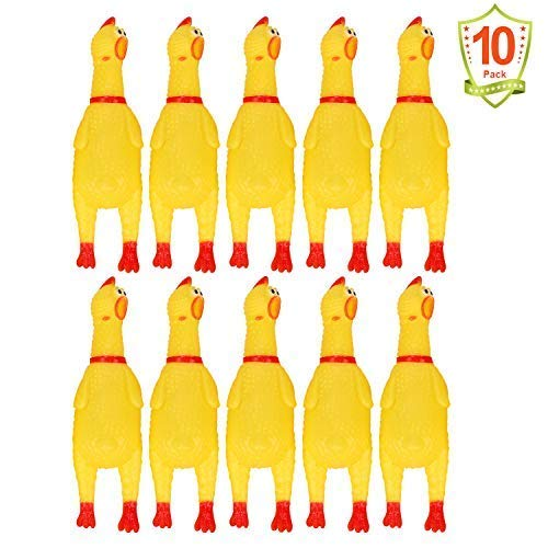 (LEGEND SANDY 10 PCS Screaming Chicken, Rubber Chicken Noisemakers for Kids and Pets, Shrilling Shrieking Squawking Chicken Novelty for Gag Gift Party Favors, Rubber Chicken Squeaky Toy for Small)