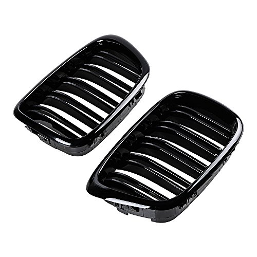 - 2x Euro Front Center Kidney Grille Grill For 97-03 BMW E39 5-Series 525 528 530 535 540 M5 4DR 4 Door (Glossy Black (dual line))