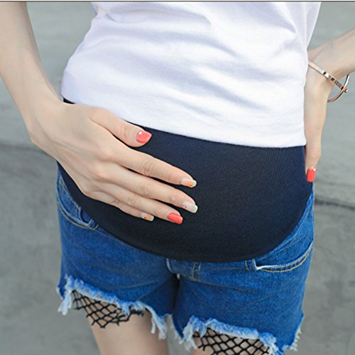 Zhhlinyuan Women's High Quality mujer embarazada Loose Pants Shorts Pants Maternity Belly Pregnancy Belly Shorts Jeans Comfortable Blue