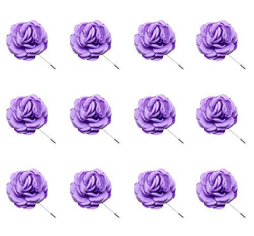 ZAKIA 12pcs Men's Flower Lapel Pin Brooch Handmade Boutonniere for Suit Wholesale Lot (Light Purple)