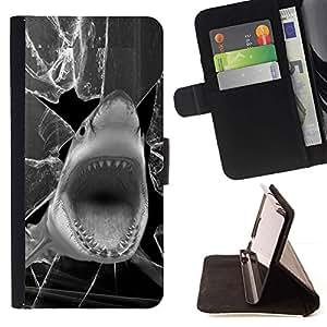 Momo Phone Case / Flip Funda de Cuero Case Cover - Tiburón divertido Broken Glass Negro Blanco - Samsung Galaxy S6 EDGE