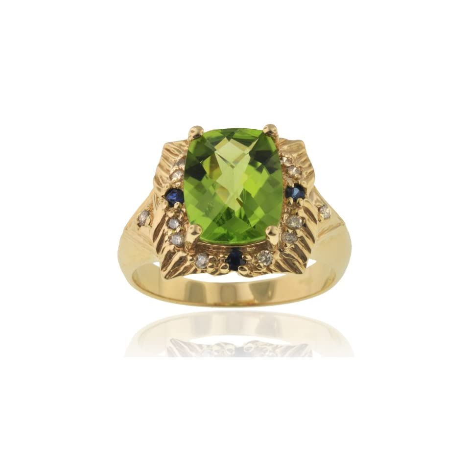 Michael Valitutti 14K Yellow Gold Peridot & Diamond Ring   SIZE 6 Michael Valitutti Jewelry